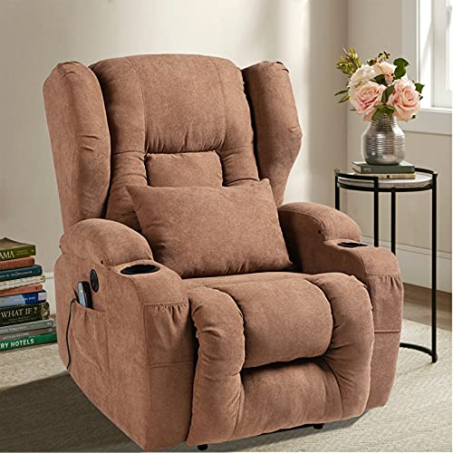 Power Recliner Chair with Massage and Heat- Fabric Wingback Electric Recliners Chair for Elderly & Adult Ergonomic Single Lounge Sofa Home Theater Seating with 4 Pockets, Cup Holders and USB Port