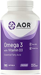 AOR, Omega-3 with Vitamin D3 5000 IU, Vegan, Vegetarian, Sourced from Non-GMO Lichen, 180 Servings (180 Softgels)