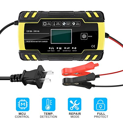 Intsun Car Battery Charger 12V/8A 24V/4A Automatic Smart Battery Charger & Maintainer, Motorcycle Battery Trickle Charger with LCD Display & Microprocessor Mode Suitable for AGM GEL SLA Wet Batteries