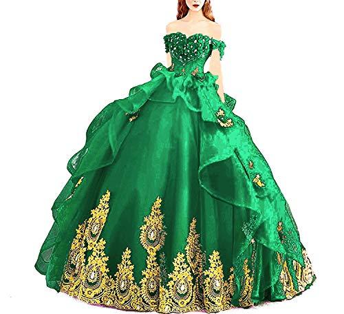 NanGer Von der Schulter Quinceanera Kleid mit Goldene Applikationen A Linie Prinzessin Ballkleider Lang Tüll Grün 38