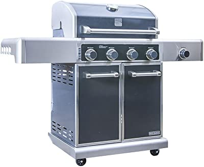 Kenmore Elite  PG-40415S0LC Stainless Steel 4 Burner Outdoor Patio Gas BBQ Propane Grill With Side Burner in , Gun Metal Grey
