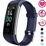 Vabogu Fitness Tracker HR, with Blood Pressure Heart Rate Monitor, Pedometer, Sleep Monitor, Calorie Counter, Vibrating Alarm, Clock IP68 Waterproof for Women Men (Blue)