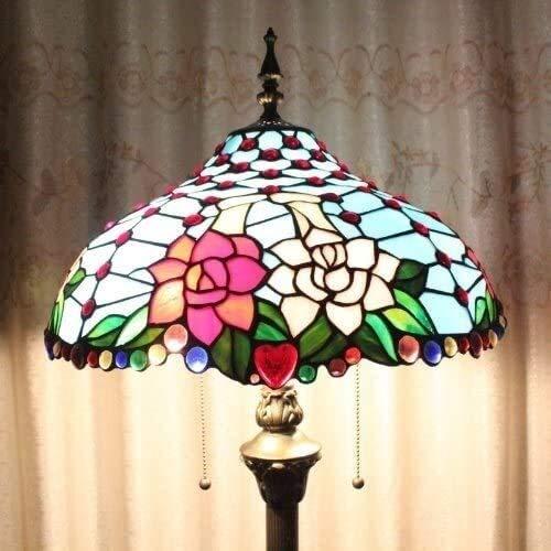 Dekorative Stehlampe Magische Beleuchtungsoptionen Moderne Stehlampe Raumleuchte Tiffany 40,6 cm Europäischer Stil Blau Doppel Blumen Stehlampe 3-flammig