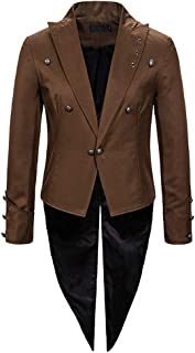 Huixin Uomo Vintage Smoking Steampunk Gotico Giacca Lunga Cappotto Carnevale Carnevale Cosplay Costume Rondini Coda Giacca...