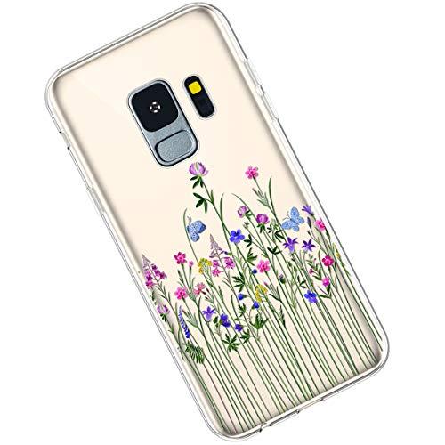 Qjuegad Kompatibel mit Samsung Galaxy S9 Clear Ultra Slim Weiche TPU Flexibles Gemalte Blumenserie Silikon Stoßfest Leichtes,Kratzfestes Schutz Gehäuse hülle