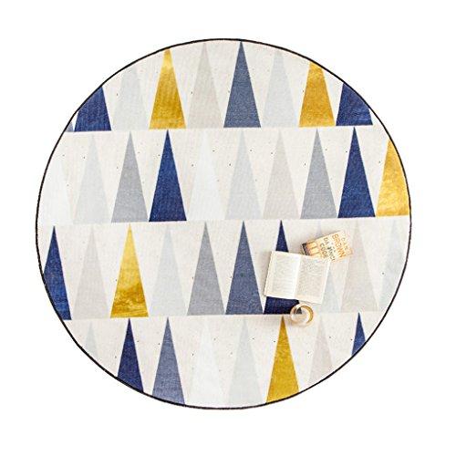 AILI Retro Blumen blüte Muster blau Plus gelb runden Teppich, Hause tische und stühle Rutschfeste matten, dekorative carpet80 * 80 cm (Color : B)