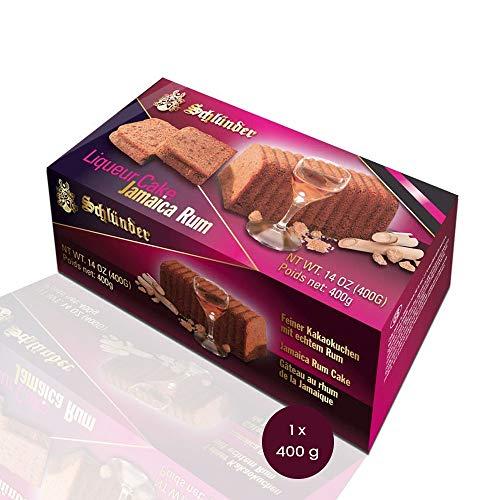 Schlünder Jamaica Cocoa Rum Cake - feiner Kakaokuchen mit echtem Rum, Fertigkuchen mit Alkohol, lecker & saftig, Rührkuchen aus Deutschland, einzeln verpackt, Kakao, Schokoladenkuchen, 400g