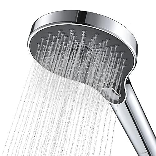 "5"" High-pressure Hand Shower - WaterSong 2021 Powerful Spray Handheld Showerhead, Rain Hand Shower Head with 60"" Hose, Powerful Spray Against Low-Water- Pressure, Chrome Finish, Oversized, [No Holder]"