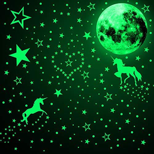 466 Stücke im Dunkeln Leuchten Einhorn Wandtattoos Leuchtende Mond Stern Punkt Aufkleber Fluoreszierende Leuchtende Wand Decke Abziehbilder für Party Kinderzimmer Dekorationen (Fluoreszierend Grün)
