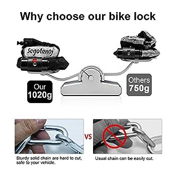 Antivol de Vélo, Segotendy Chaîne Antivol Vélo avec Clé 8mm Diamètre 1020g Serrure à Chaîne Pour Motos/Bicyclette, Vélos, Scooters Cyclisme Portes Portail Clôture(82cm)