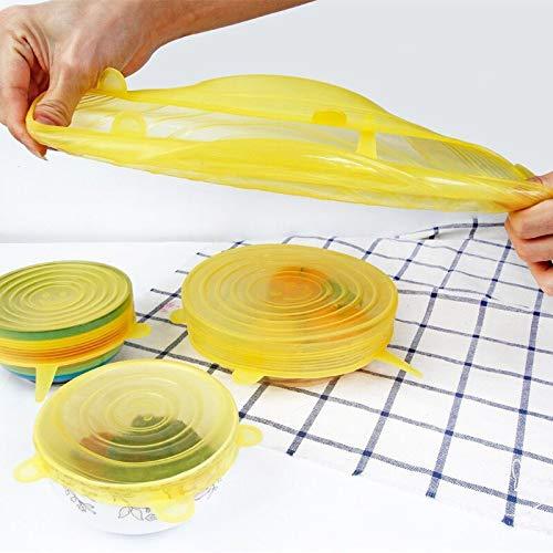 PPuujia 6 fundas reutilizables de silicona para mantener frescas, mini compresión, tapas elásticas universales de silicona, accesorios de cocina, uso para alimentos de cocina (color azul)