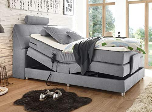 Froschkönig24 Palermo 120x200 cm Boxspringbett Bett mit Motor Hellgrau, Ausführung:Variante 4