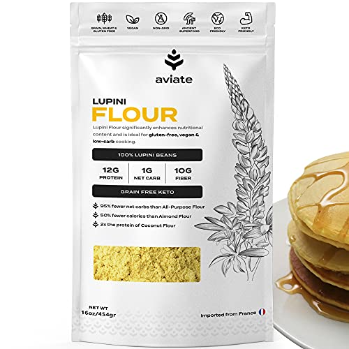 Aviate Lupini Flour   Keto & Vegan Friendly Superfood   Non-GMO, Gluten Free   Lupin Flour Keto   High Protein, Low Carb, & Low Calorie   Rich in Dietary Fiber and Minerals   100% Lupin Beans   16 Ounces, 1 Pack