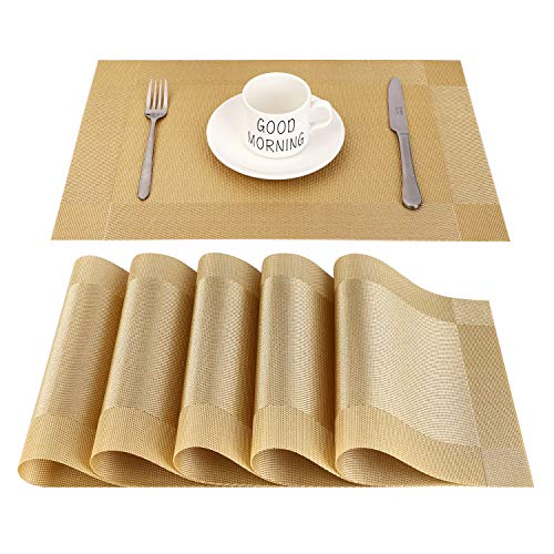 CHAOCHI Manteles Individuales Lavables Salvamantele Individuales PVC Antideslizantes Resistente al Calor Juego de 6 para la Mesa de Comedor de Cocina,Dorado