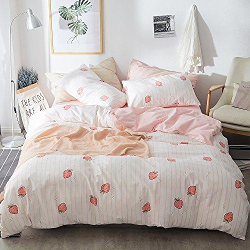 LifeTB Bettwäsche-Set für Kinder, Cartoon-Motiv, Baumwolle, für Jungen und Mädchen, wendbar, 3-teiliges Bettwäsche-Set aus Baumwolle Modern Twin(68
