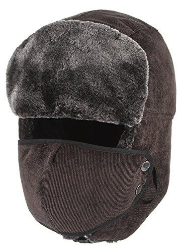 EOZY Sombrero de Invierno Gorro con Orejas Esquí para Hombro Mujer Térmico Marrón