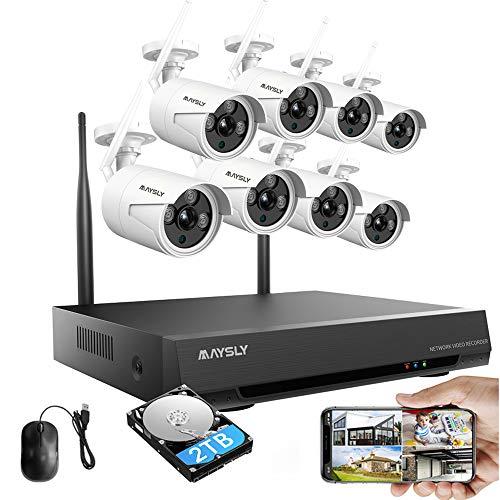 Sistema de vigilancia inalámbrico Maysly 8 CH 1080P HD WiFi NVR 1.3 MP cámaras interiores IP para exteriores, P2P, 65 pies visión nocturna, disco duro de 2 TB preinstalado
