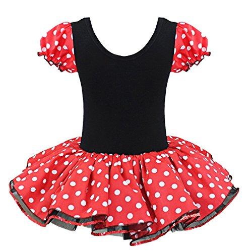 freshbaffs Infant Toddler Polka DOT Girls Ballet Dance Costume Dress with Headband (12months, Red)