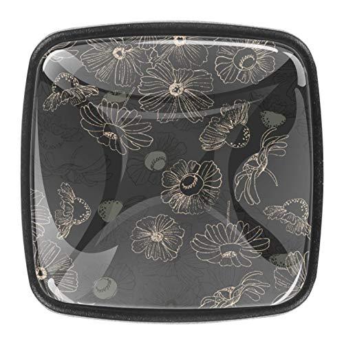 4 pomos para gabinetes de cocina, bonitos tiradores cuadrados de cristal transparente...