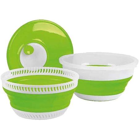 Camp4 Essoreuse à salade pliable citron vert et blanc avec couvercle