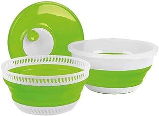 Camp4 Essoreuse à salade, pliable, vert citron et blanc, avec couvercle, passoire et bol