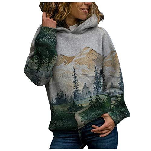 XOXSION Sudadera con capucha para mujer, impresión 3D, otoño, invierno, diseño paisaje, manga larga, jersey de invierno, ajuste holgado, informal verde S