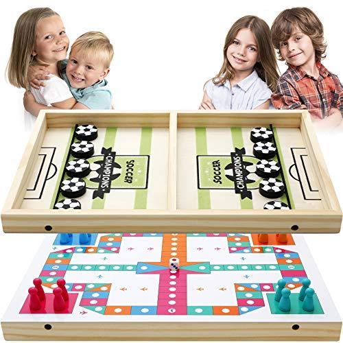EXTSUD Gioco da Tavolo Hockey Ludo 2 in 1 Board Game Giocattolo Catapulta Battaglia da Tavolo in Legno Gioco Portatile Interativo Genitori Figli Amici Giochi per Famiglia Party