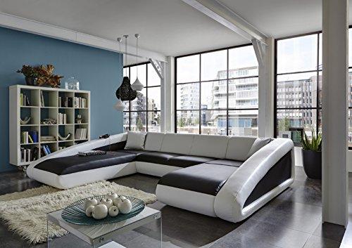 SAM® Sofa Garnitur schwarz / weiß / weiß Ciao Wohnlandschaft 250 x 355 x 205 cm designed by Ricardo Paolo futuristisch Wohnzimmer Sofa Landschaft pflegeleichte Oberfläche