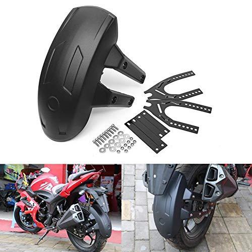Rueda trasera de la motocicleta de plástico negro universal for la cubierta de la rueda trasera del guardabosques del salpicaduras del guardabarros Guardia de Mudguard con accesorios de soporte Protec