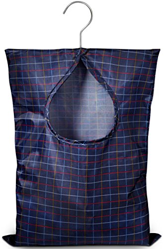 Handy Laundry Clothespin Bag - 11' x 15' - Holds 100 Medium-Sized Clothes Pins, Water-Repellent Material, Hook for Hanging and Effortlessly Sliding on The Clothesline with an Extra-Large Opening.