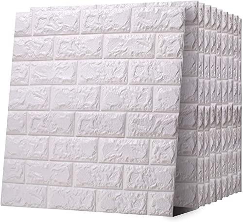 SJMFGF 10 piezas 3D autoadhesivos azulejos de pared 60 × 60 cm ladrillo papel pintado 3D paneles de pared imitación ladrillo pegatinas de pared 3D ladrillo adhesivo