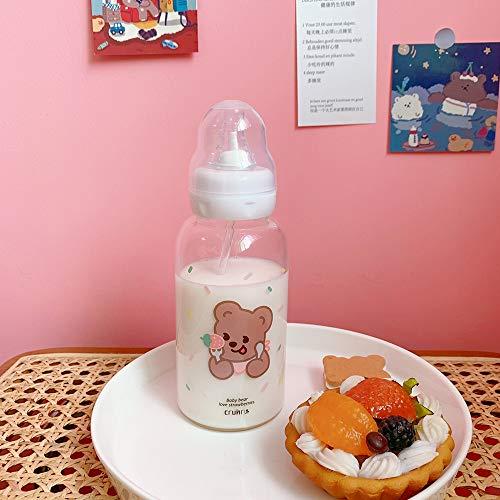 CXL Vaso para Beber Girly Cute Child, Vidrio para Estudiantes, Taza de Chupete con Bola de Gravedad, Regalo de Salud