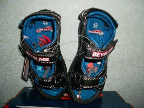 Sandalias con pies, color negro y azul, talla 27
