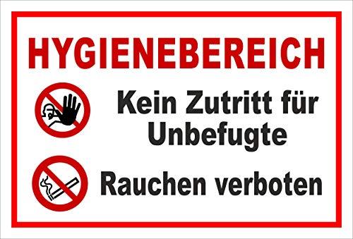 Melis Folienwerkstatt Schild Hygienebereich - 15x10cm - 3mm Hartschaum – 20 VAR S00225-007-B