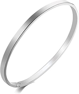Fashion&cool Stainless Steel Grooved Cuff Bangle Bracelets for Women Men, 4mm,Silver