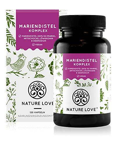NATURE LOVE® Mariendistel, Artischocke, Löwenzahn & Desmodium 4-fach Komplex - 120 vegane Kapseln - Hochdosiert mit 80% Silymarin - Laborgerprüft, hochdosiert, in Deutschland produziert