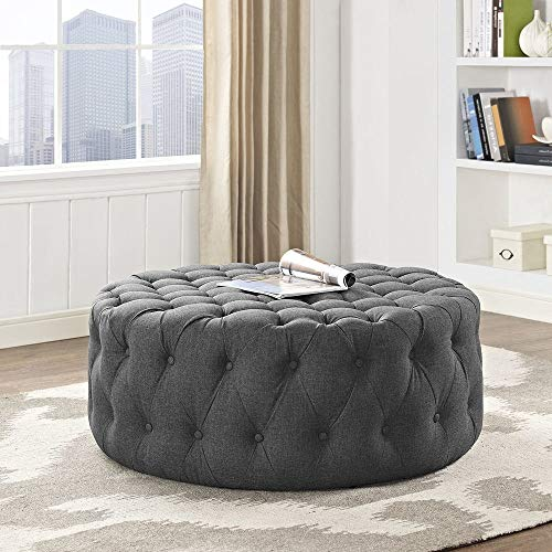 HNU Traditional Wood Frame Soft Fabric Large Round Tufted Ottoman, Modern & Contemporary Charm Furniture Stool Coffee Side Table for Living Room, Best Cocktail Ottoman - Gray