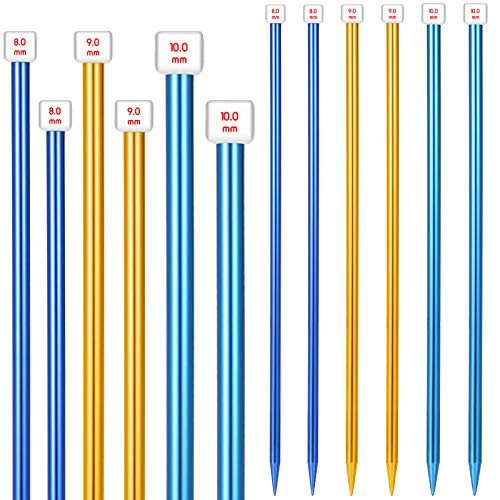 6 Pieces/ 3 Pairs Aluminum Straight Knitting Needles Set, 8 mm, 9 mm and 10 mm,14 Inch Single Point Knitting Needles, Color Extra Long Straight Sweater Needles for DIY Knitting Projects