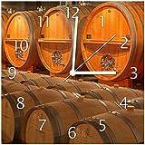 Wallario Glas-Uhr Echtglas Wanduhr Motivuhr • in Premium-Qualität • Größe: 30x30cm • Motiv: Weinkeller mit Alten Holzfässern