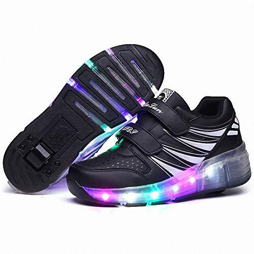 FZ FUTURE Roller Skate Schuhe Sneakers, LED Rollschuhe mit Räder, mit Automatisch Verstellbares Räder Skateboardschuhe, 1Räder für Kinder Mädchen Junge Erwachsene,Schwarz,30