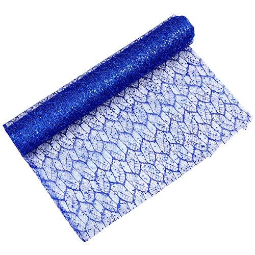 Supvox Mesh-Blume Verpackung Spitze Pailletten Maple Leaf Mesh Ribbon Cloth Materialien (blau)