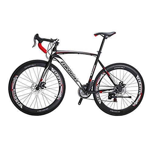 Road Bike LZ-550 Steel Bicycle Frame Height 54CM Disc Brake 21 Speed Road Bike Black/White