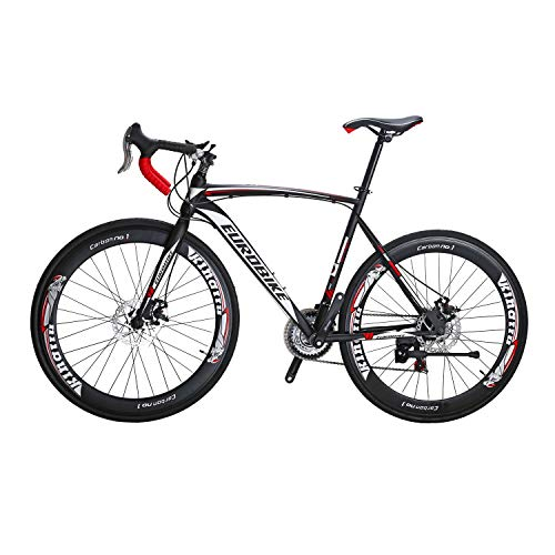 Eurobike Bicycle XC550 700C 54cm Road Bikes 21 Speed Shift Left 3 Right 7 Frame Road Bicycle Black/White 54w