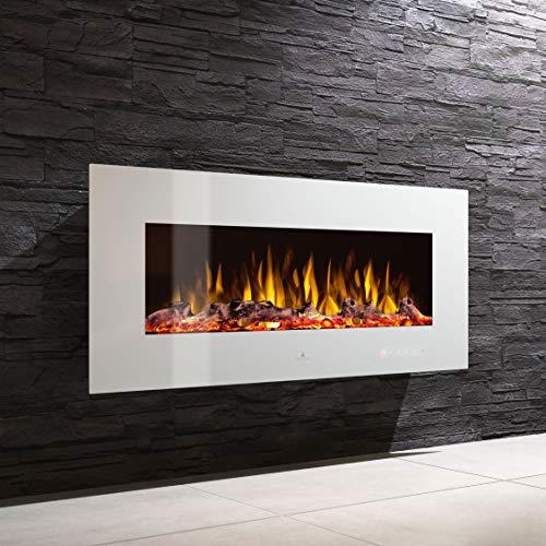 Noble Flame Vegas 1380 Weiß - Elektrokamin Wandkamin Kaminofen Kamin - Wandmontage Fernbedienung - Verschiedene Breiten