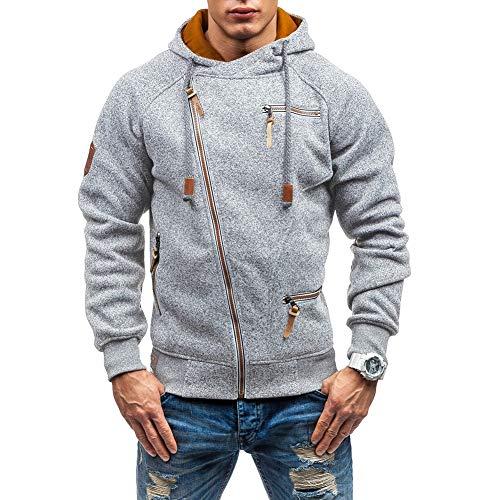 Mens Full Zip Hoodies Multi-Pockets Winderproof Jacket Casual Velet Sweatshirt Outdoor Games Tops Mens Gifts Lightgrey