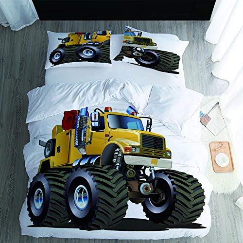 PPKMBGRS Mattress Protector Duvet Cover,Soft Breathable Sleep Comfort Sweat,Liquid,Moisture,Mite Protection,Truck Tire Room Bedroom Bed Decoration Set-220x220Cm