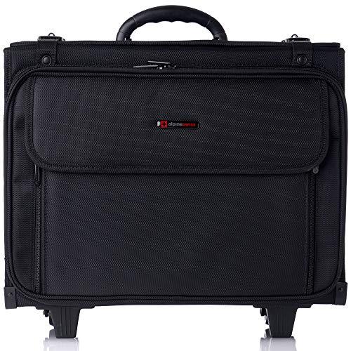 "Alpine Swiss Rolling Briefcase Hard Side Catalog Case 17"" Laptop Sleeve"