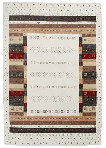 Moderner Gabbeh Teppich | Nachhaltig handgefertigt aus 100% Schurwolle mit Wollsiegel und Rugmark | 80 x 200 cm; Farbe: beige multi | THEKO die markenteppiche - Lori Dream