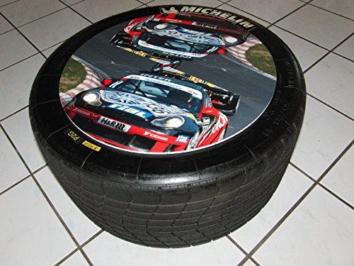 Beistelltisch aus Racing Slick/Rennreifen org. aus der Tourenwagenmeisterschaft, Porsche Cup.