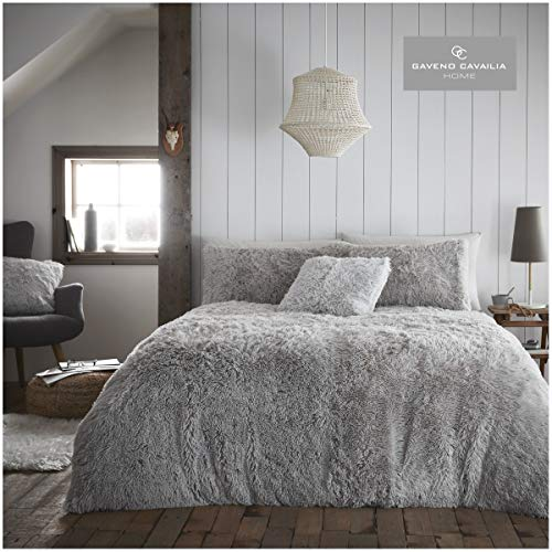 Gaveno Cavailia Soft & Warm Hugg & Snug Duvet Cover with Matching Pillowcases, Easy Care Fluffy Bed Linen, Premium Fleece Quilt Set, Silver, Kingsize Bedding
